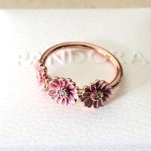 Pandora Pink Daisy Flower Trio Ring #188792C01